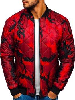 Чоловіча демісезонна куртка-бомбер камуфляж-червона Bolf MY01