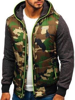 Чоловіча демісезонна куртка камуфляж-салатова Bolf 3755