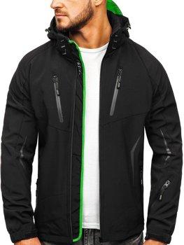 Чоловіча демісезонна куртка софтшелл чорно-зелена Bolf 5612