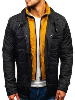 Чоловіча демісезонна куртка чорно-жовта Bolf 50004