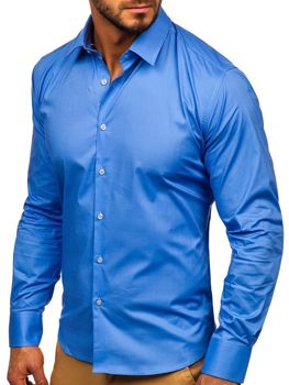 Чоловіча елегантна сорочка з довгим рукавом блакитна Bolf TS50