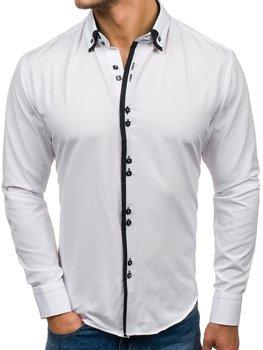 Чоловіча елегантна сорочка з довгим рукавом біла Bolf 1721-A
