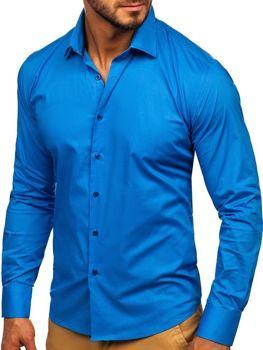 Чоловіча елегантна сорочка з довгим рукавом синя Bolf TS50