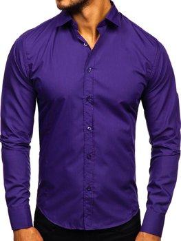 Чоловіча елегантна сорочка з довгим рукавом фіолетова Bolf 1703