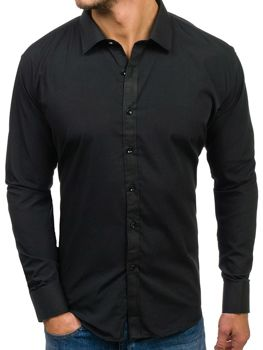 Чоловіча елегантна сорочка з довгим рукавом чорна Bolf 001