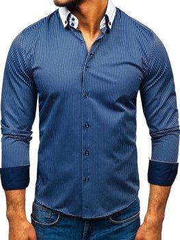 Чоловіча елегантна сорочка у смужку з довгим рукавом темно-синя Bolf 0909-A