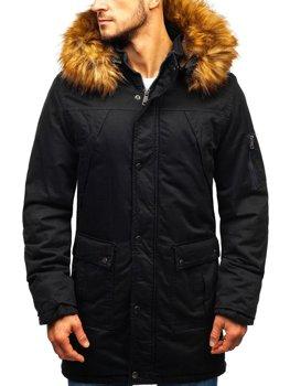 Чоловіча зимова куртка парка чорна Bolf R106