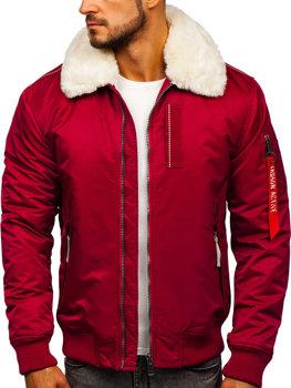 Чоловіча зимова куртка пілот бордова Bolf 1787