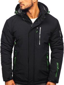 Чоловіча лижна куртка чорно-зелена Bolf 1910
