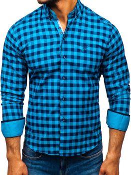 Чоловіча рубашкав клітку з довгим рукавом морська хвиля Bolf 5816-A