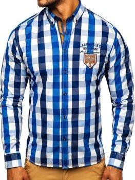 Чоловіча сорочка в клітину з довгим рукавом синя Bolf 1766-1