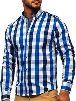 Чоловіча сорочка в клітину з довгим рукавом темно-синя Bolf 2779