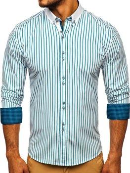 Чоловіча сорочка в смужку з довгим рукавом зелена Bolf 9713