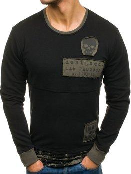 Чоловіча толстовка без капюшона з принтом чорна Bolf NRT535