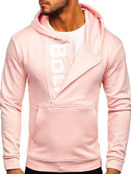 Чоловіча толстовка з капюшоном та принтом рожева Bolf 01