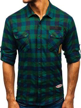 Чоловіча фланелева сорочка з довгим рукавом хакі Bolf 2503