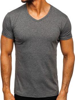 Чоловіча футболка без принта з v-подібним вирізом антрацитова Bolf 2007