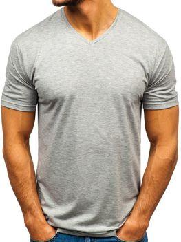Чоловіча футболка без принта з v-подібним вирізом сіра Bolf 172010-A