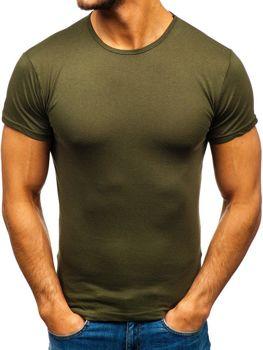 Чоловіча футболка без принта хакі Bolf 0001
