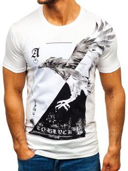 Чоловіча футболка з принтом біла Bolf 181210