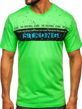 Чоловіча футболка з принтом салатова Bolf 14204