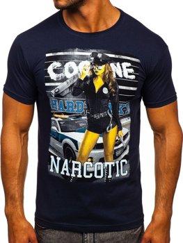 Чоловіча футболка з принтом темно-синя Bolf 004