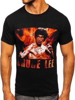 Чоловіча футболка з принтом чорна Bolf 001