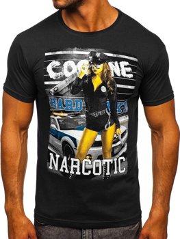 Чоловіча футболка з принтом чорна Bolf 004