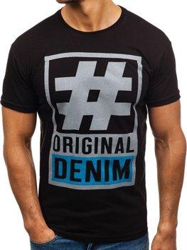 Чоловіча футболка з принтом чорна Bolf 008