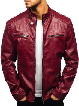 Чоловіча шкіряна куртка бордова Bolf ex379 73145c5d7782f
