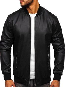 Чоловіча шкіряна куртка чорна Bolf 6121