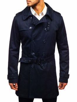 Чоловіче пальто-тренч темно-синє Bolf 5710