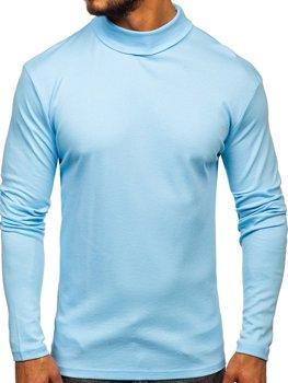 Чоловічий гольф без принта блакитний Bolf 145347
