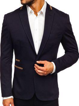 Чоловічий елегантний піджак темно-синій Bolf 9400