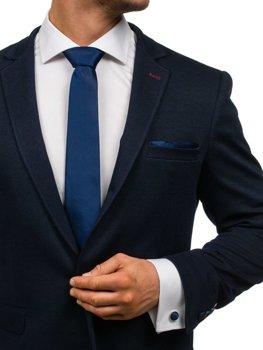 Чоловічий набір краватка, запонки, хустинка паші насичений темно-синий Bolf KSP01