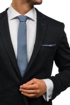 Чоловічий набір краватку, запонки, пашетка темно-сірий Bolf KSP01