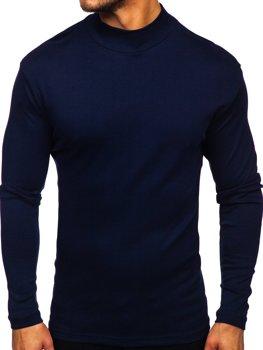 Чоловічий полугольф без принта темно-синій Bolf 145348