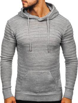 Чоловічий светр з капюшоном сірий Bolf 7003