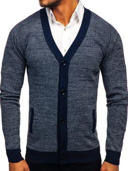 Чоловічий светр на застібці темно-синій Bolf 8122