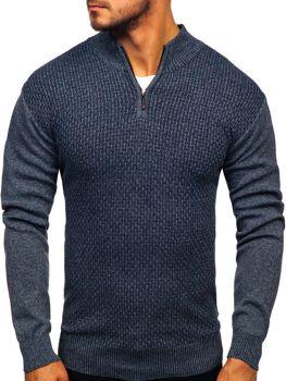 Чоловічий светр на застібці темно-синій Bolf 8255