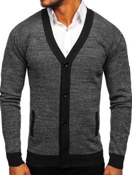 Чоловічий светр на застібці чорний Bolf 8122