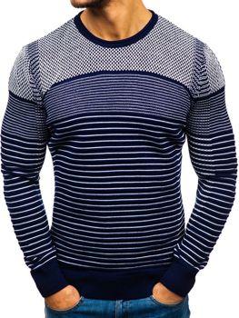 Чоловічий светр темно-синьо-білий Bolf 1015
