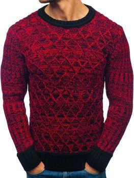 Чоловічий светр чорно-червоний Bolf 197