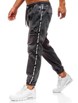 Чоловічі джинсові штани багі антрацитові Bolf 2045