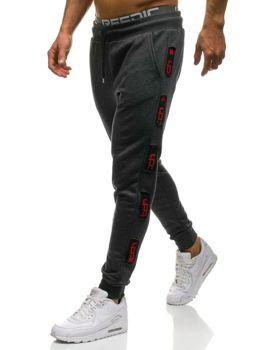 Чоловічі трикотажні штани джогери графітово-червоні Bolf 0921