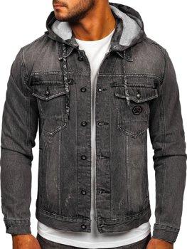 Чорна джинсова куртка з капюшоном Bolf RB9900-1
