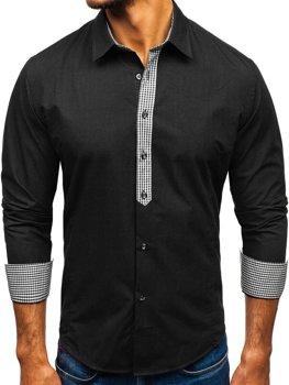 Чорна елегантна чоловіча сорочка з довгим рукавом Bolf 0939 ea58c34a8306b