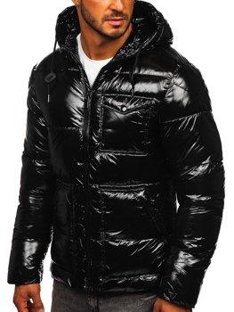 Чорна стьобана зимова чоловіча спортивна куртка Bolf 973