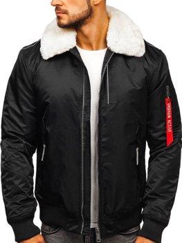 Чорна чоловіча демісезонна куртка пілот Bolf EX1787
