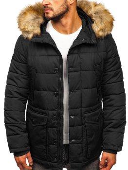 Чорна чоловіча зимова куртка парку Аляска Bolf JK361